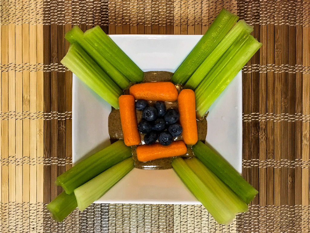POWER SNACK: Raw Creamy Almond Butter, Celery, Carrot Sticks, Organic Blueberries