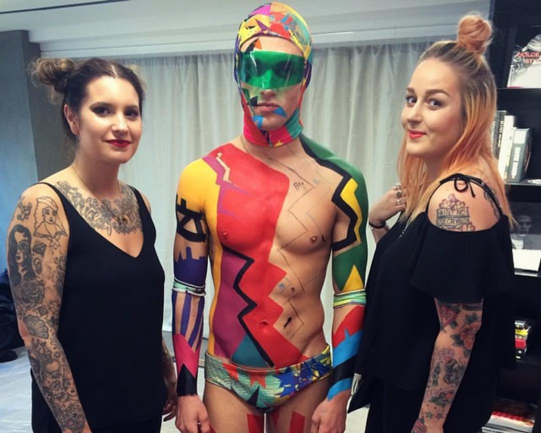 Body paint with Laura for the Soho store opening on Carnaby Street