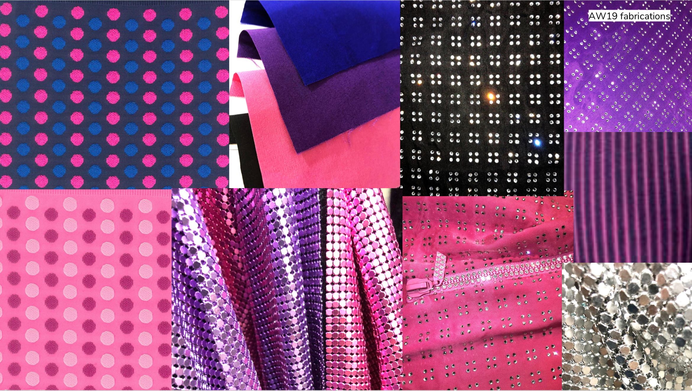Fabric swatches from the AW19 collection