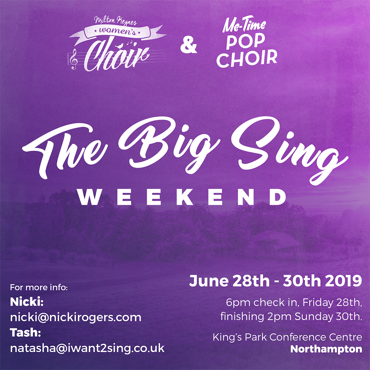 Our first ever singing residential weekend is set to take place later this year, more details below.