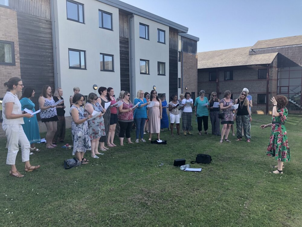 It was one of the hottest days of the year so we sang outside one day!