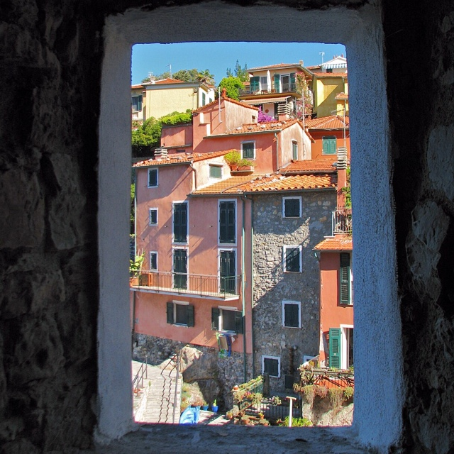 A window overlooking the town and part of the marina.