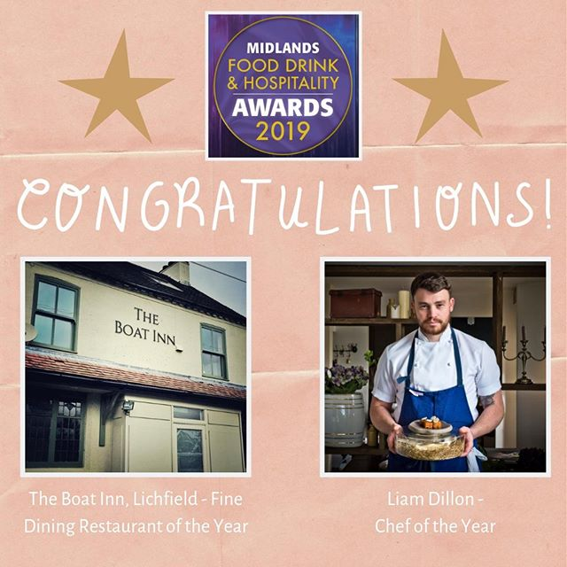Huge congratulations to Chef Liam Dillon and the team at The Boat Inn, Lichfield for coming home with not one but TWO awards from the Midlands Food, Drink and Hospitality Awards 2019! @liamjdillon won Chef of the Year whilst @theboatinn_ won best Fine Dining Restaurant of the Year!! @mfdhawards #theboatinnlichfield #mfdha19