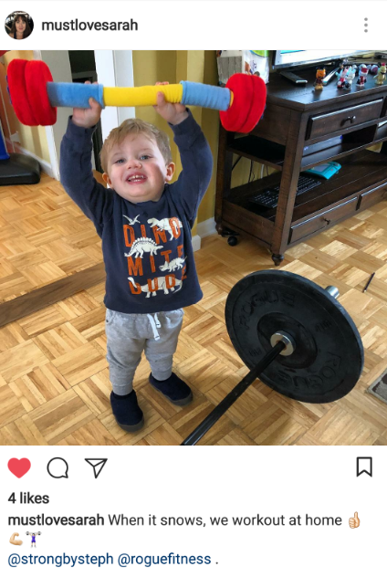"""I'm so thankful to have equipment at home to be able to get modified versions of my workouts in when I can't get there. Plus, this made working out so much more fun! I'm so glad I'm able to teach C healthy habits and that he actually enjoys it."" -Sarah"