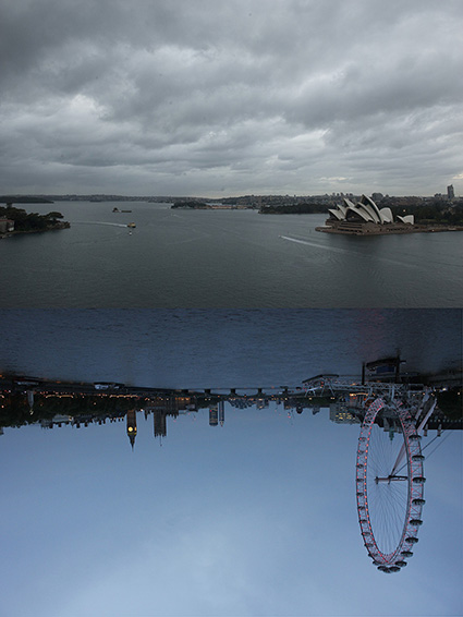 Idea Nr 9.  Collage of photographs, 59x84cm: Untitled_Shoot-730, Sandra Kontos, Sydney, May 15, 2015, 5:56am & _MG_3398 , Olivia Hernaïz, London, May 15, 2015, 8:56pm