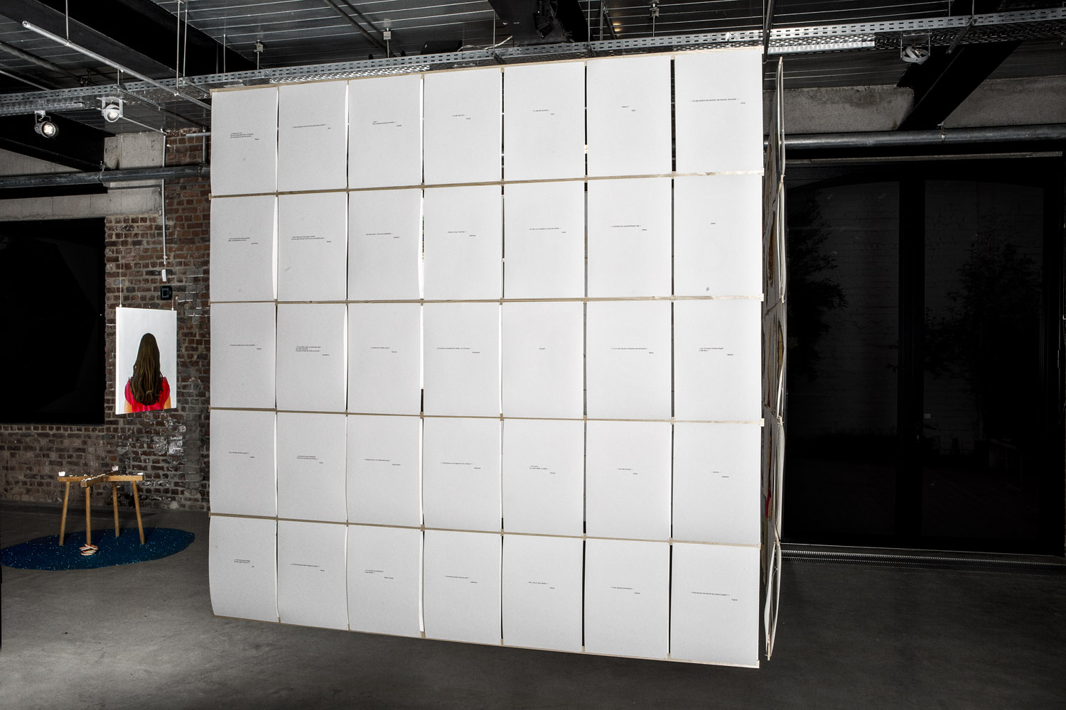 Installation view ot the 105 drawings and writings on paper, 29,7x42cm, 2013