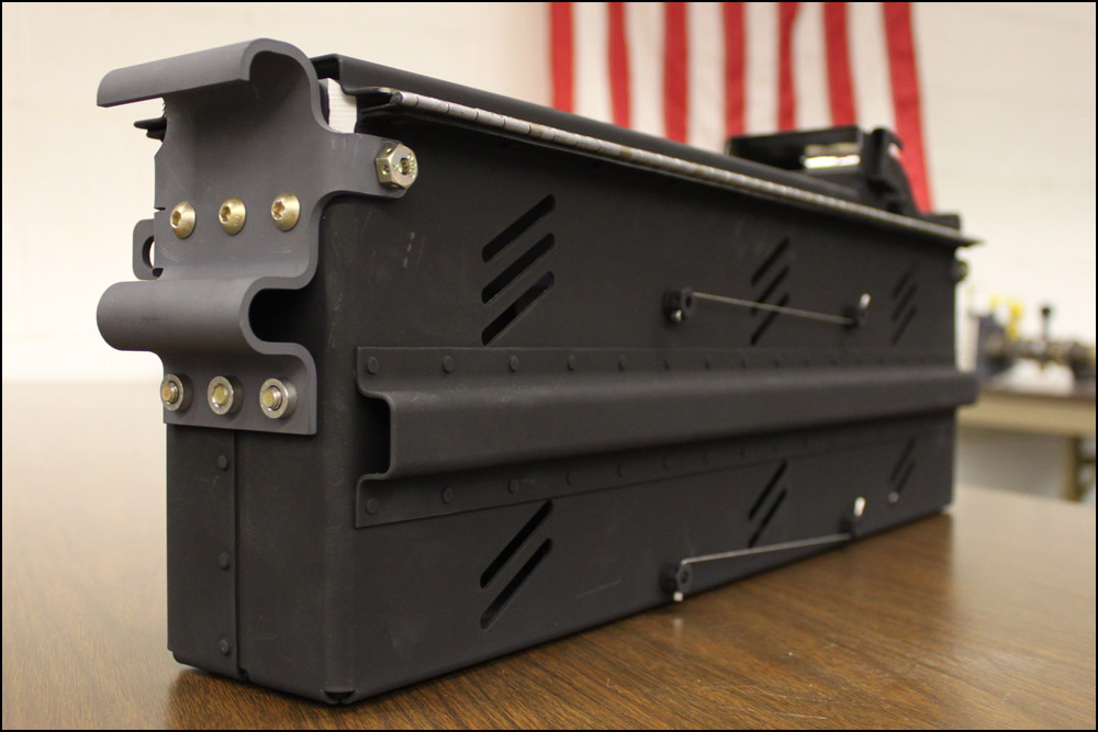 An ammo can, fabricated and assembled by our talented sheet metal mechanics.