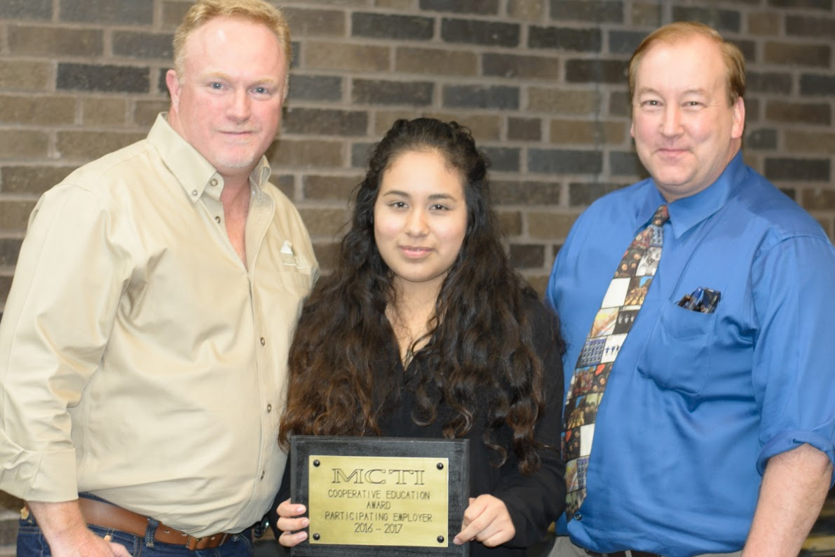 Imperial's Director of Operations Mike Clifford (left) and student Karen Gomez (center) at the 2017 MCTI Co-op Awards Dinner