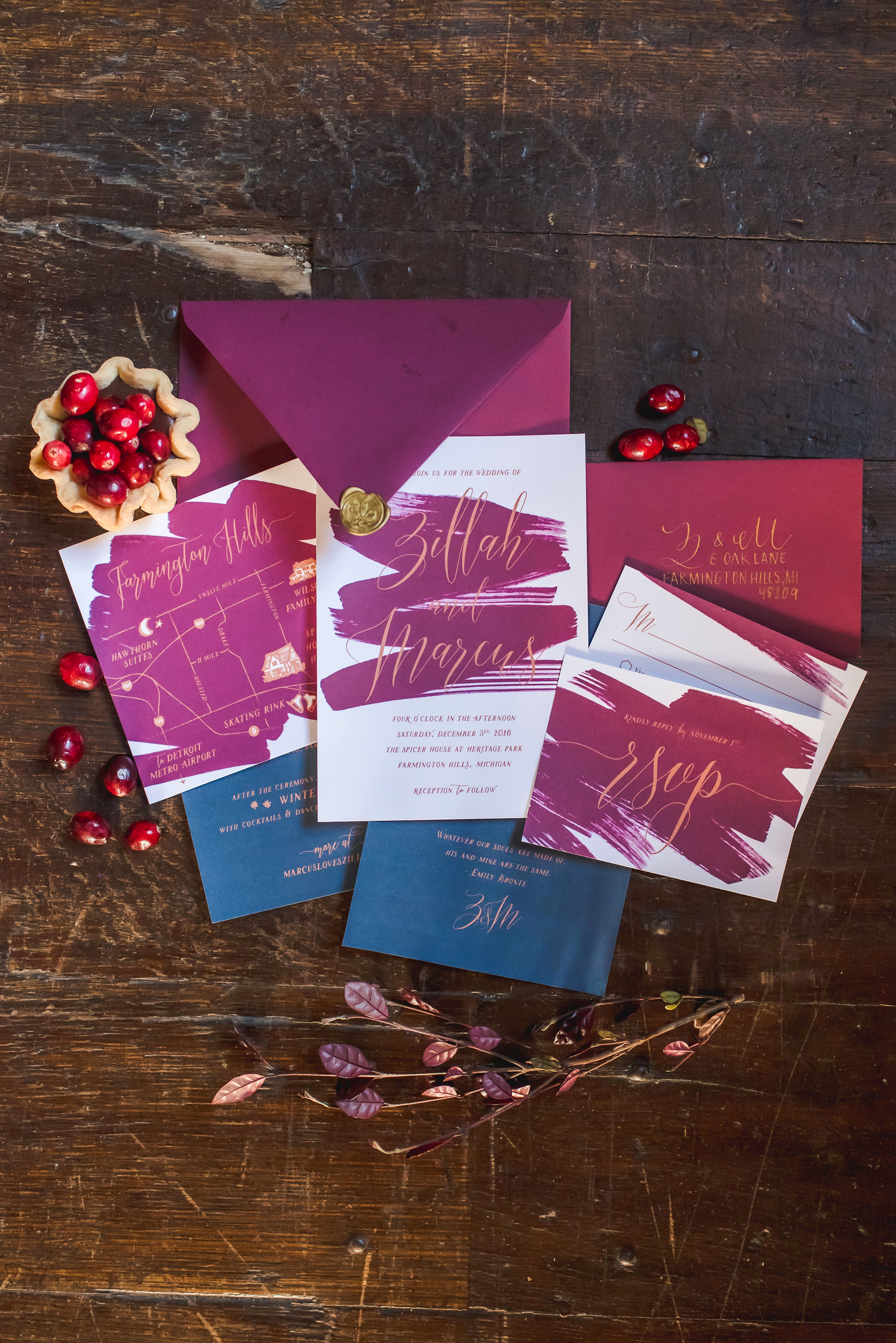 Calligraphy by  M.B. Calligraphy , Invitation Suite by  Alisa Bobzien , Photo by  E Schmidt Photography