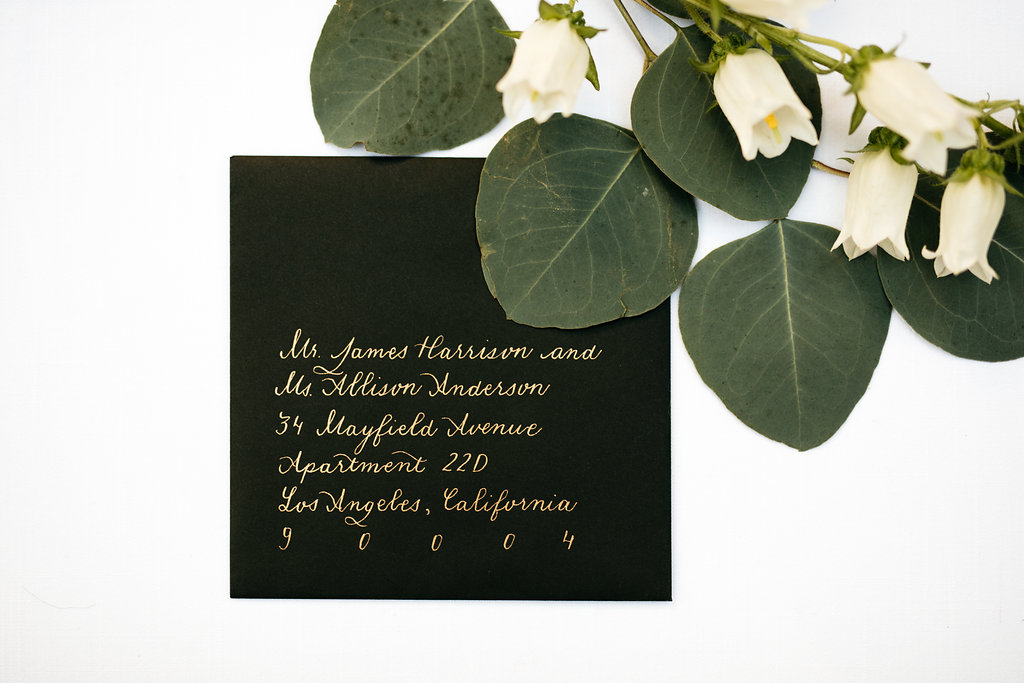 Wedding Invitation Calligraphy, Gold Ink