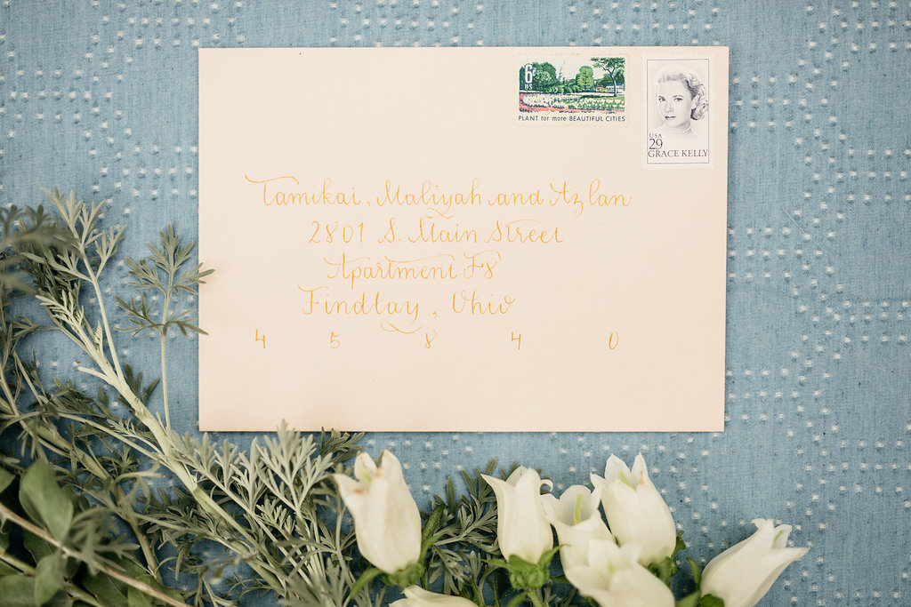 Blush Wedding Invitation Calligraphy, Gold Ink