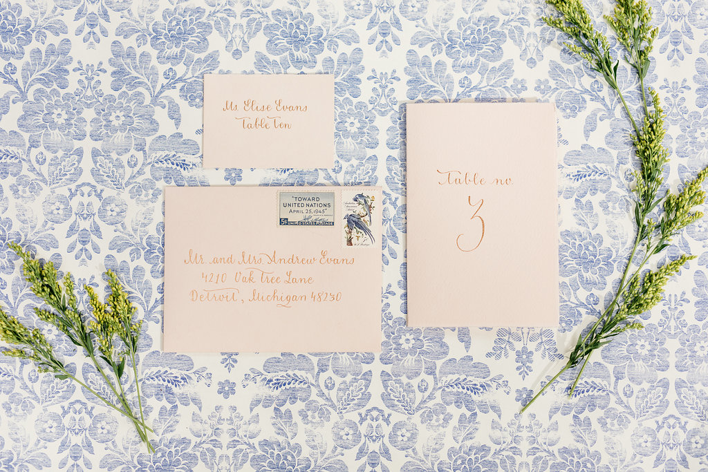 Blush & Gold Wedding Invitations Calligraphy