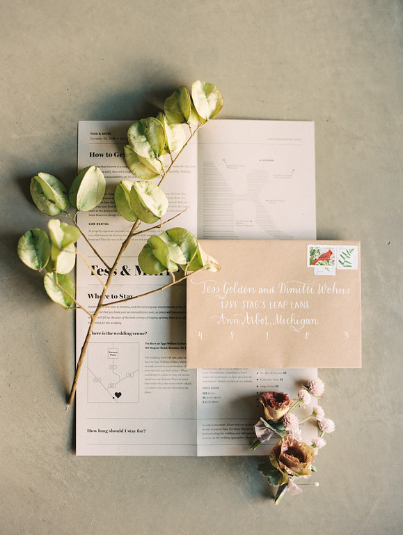 Kraft Wedding Invitation Calligraphy