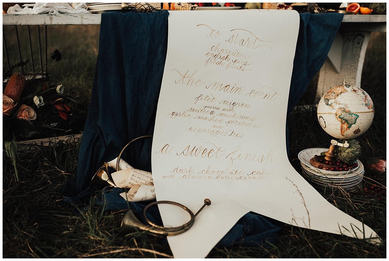 Michigan Calligrapher, Menu Design, Michigan Wedding, Cornman Farms