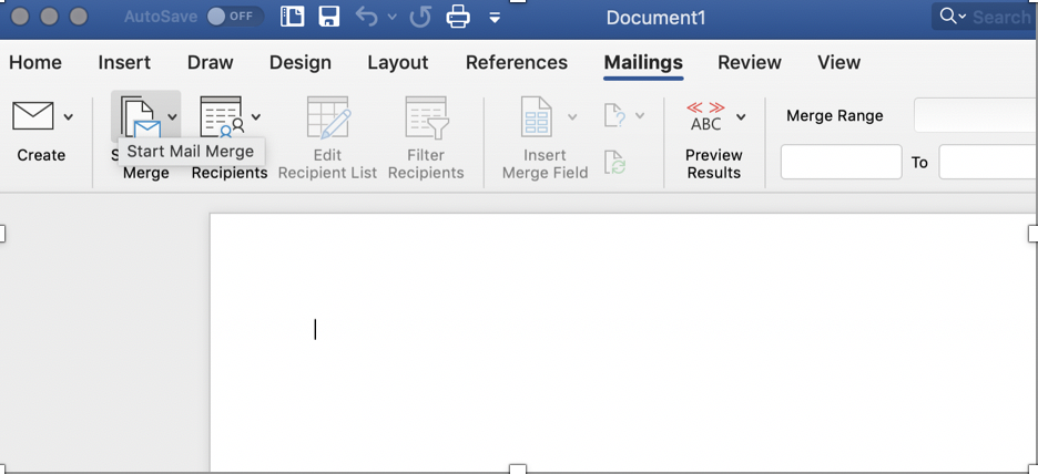 """Click """"Start a Mail Merge"""" to reveal the drop down menu"""