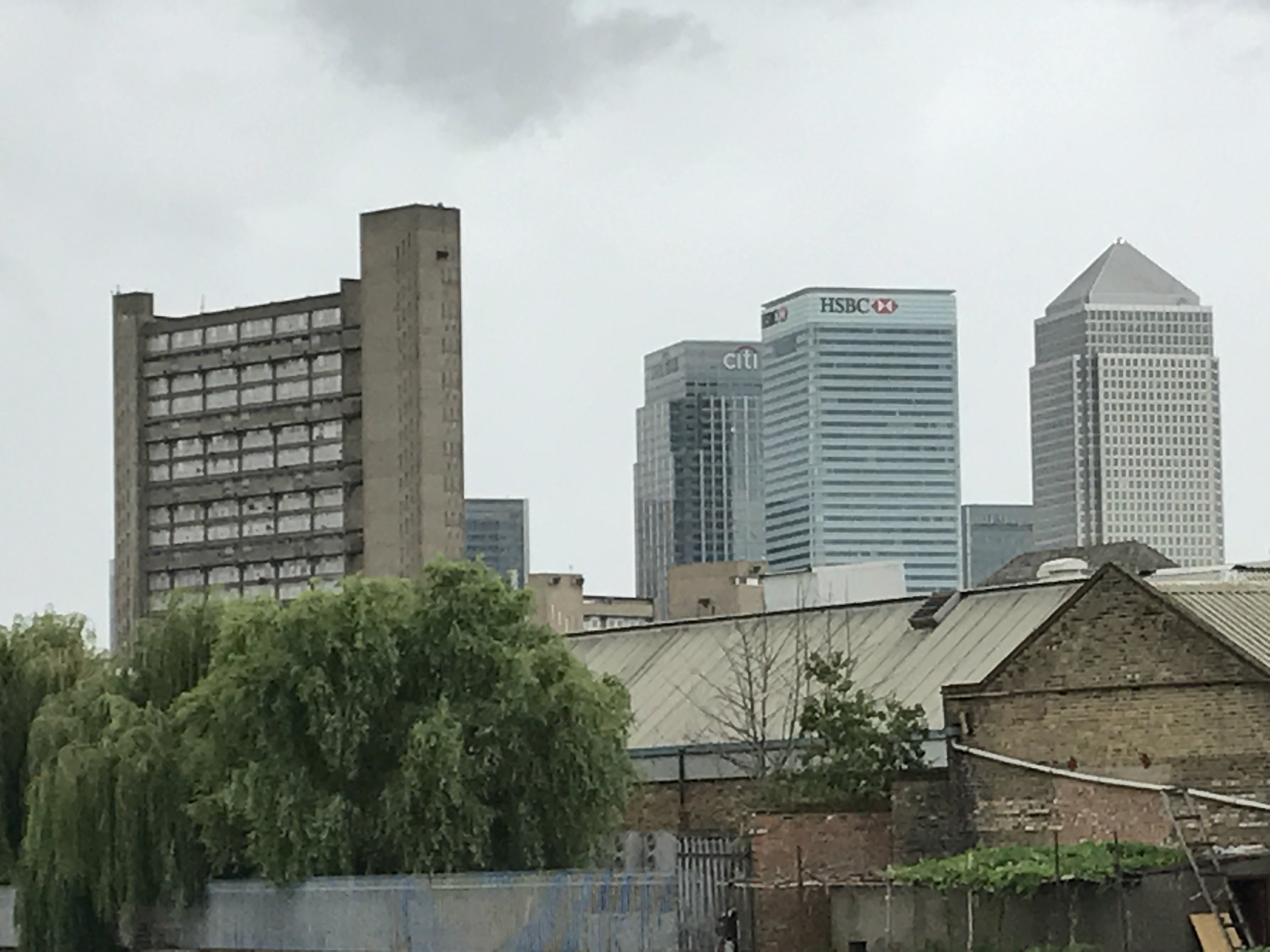 Balfron Tower and the City from the west bank of the River Lea