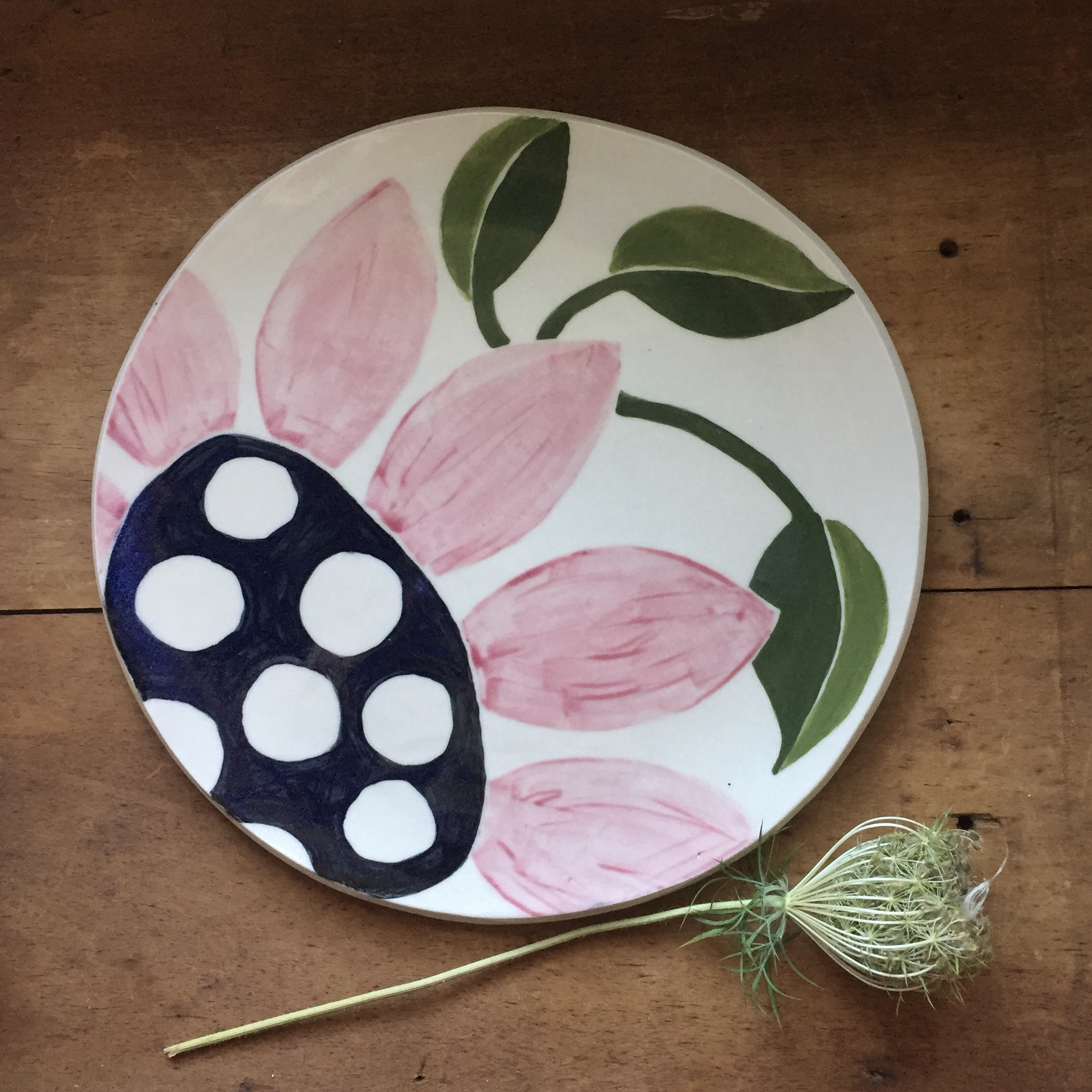 pink flower serving plate