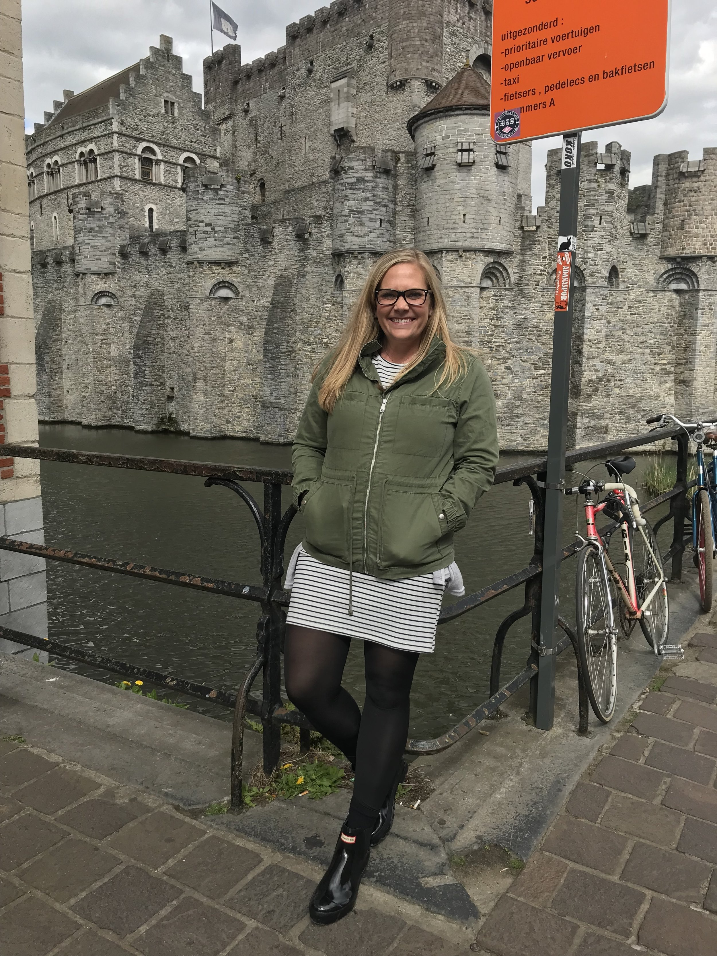 A super cool castle in Gent and my super comfy Hunter boots.