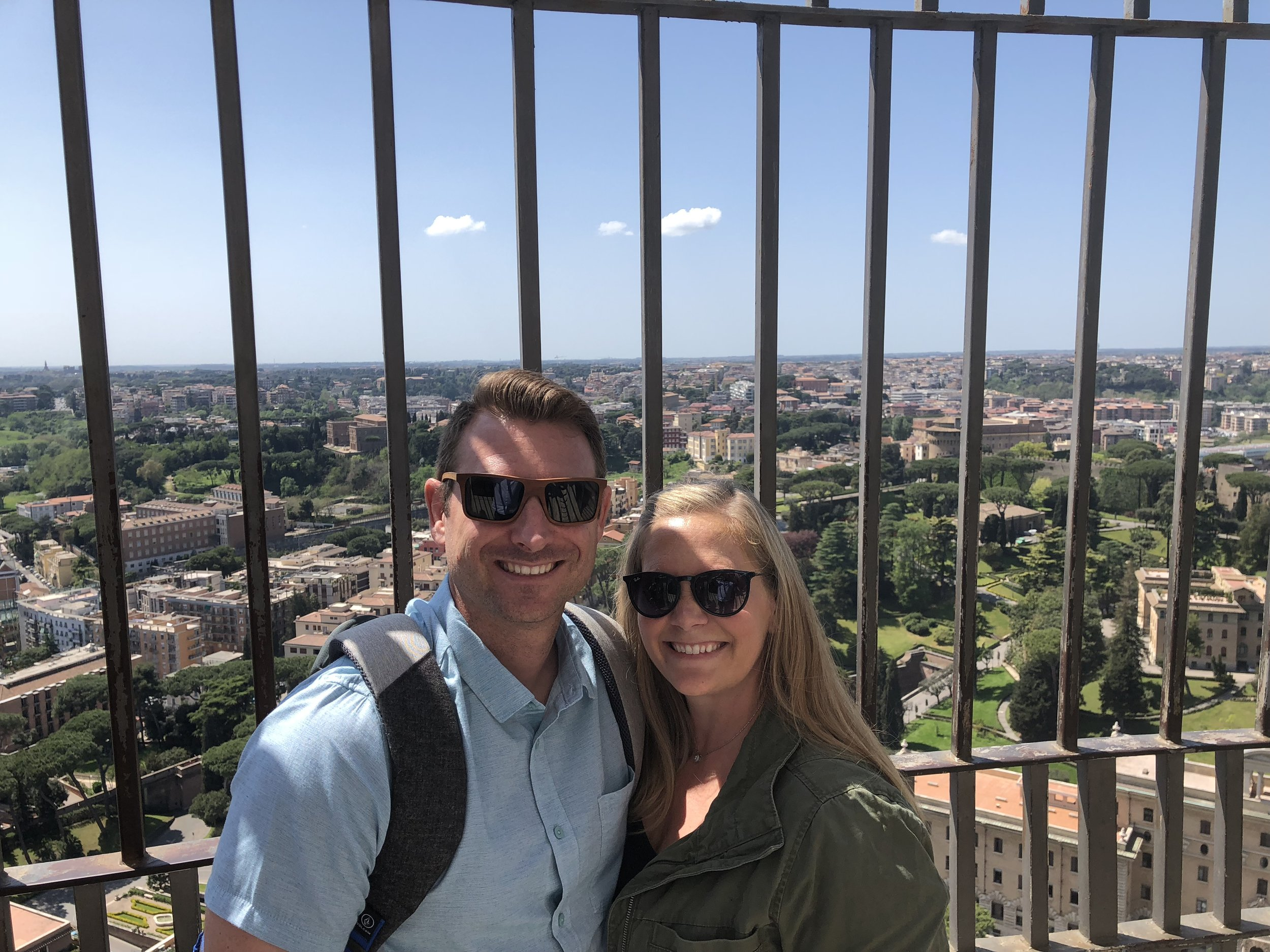 At the top of St. Peter's Basilica overlooking Rome. Those stairs ain't no joke!