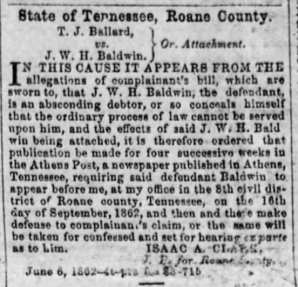 Sgt. Jesse W. H. Baldwin, Co. A, 5th TN Infantry, USA