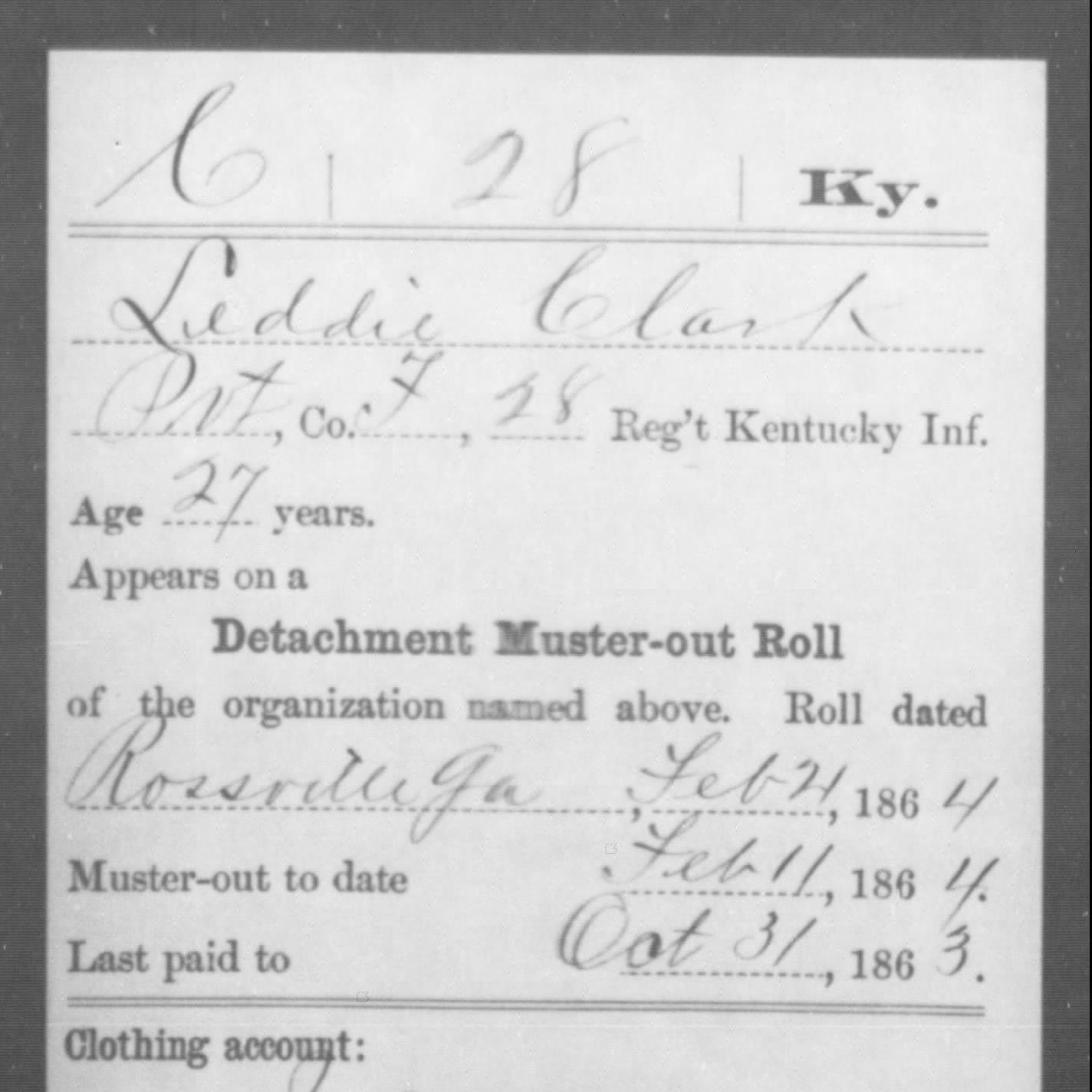 Pvt. Zeddic Clark, Co. F, 28th KY Infantry, USA
