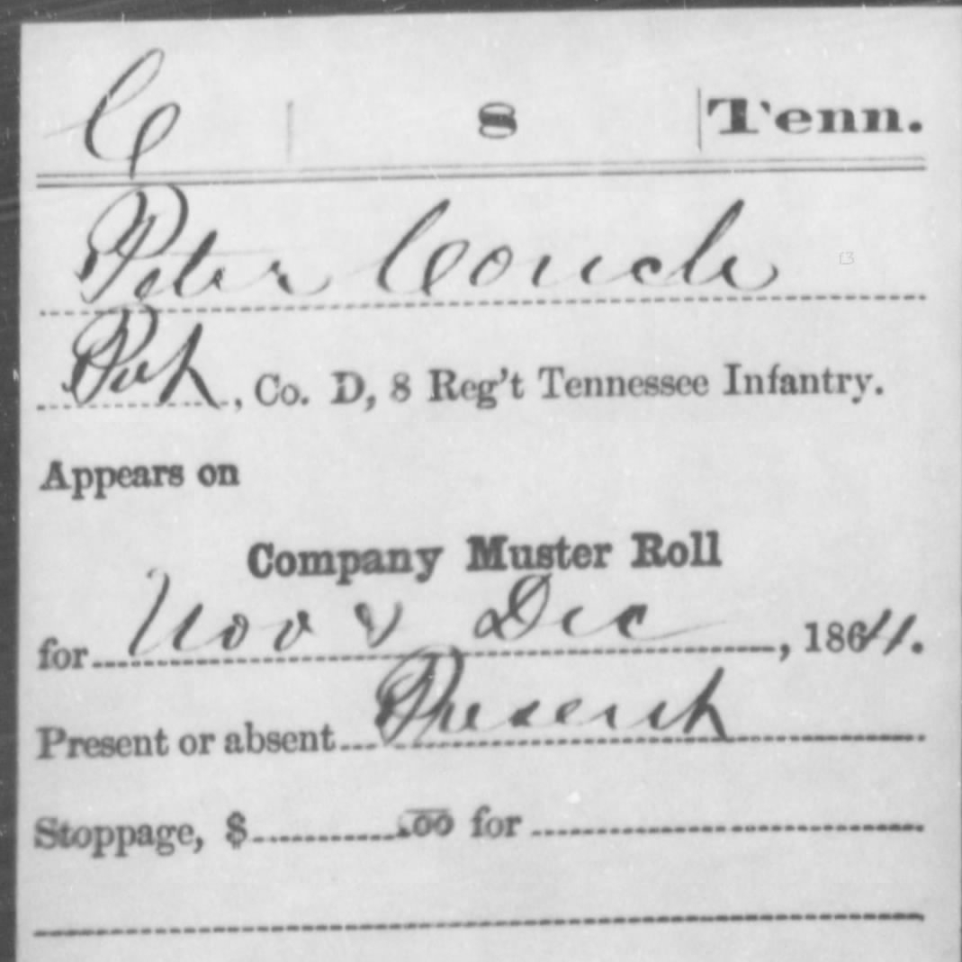 Pvt. Peter Couch, Co. D, 8th East TN Infantry, USA