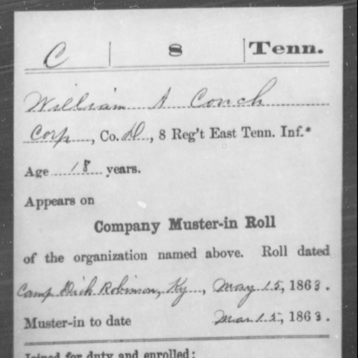 Pvt. William Couch, Co. D, 8th East TN Infantry, USA
