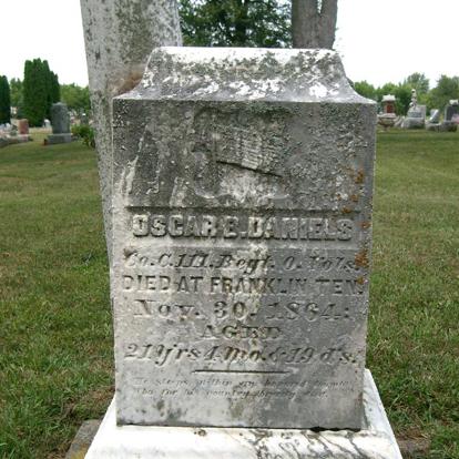 Pvt. Oscar Daniels, Co. C, 111th OH Infantry, USA
