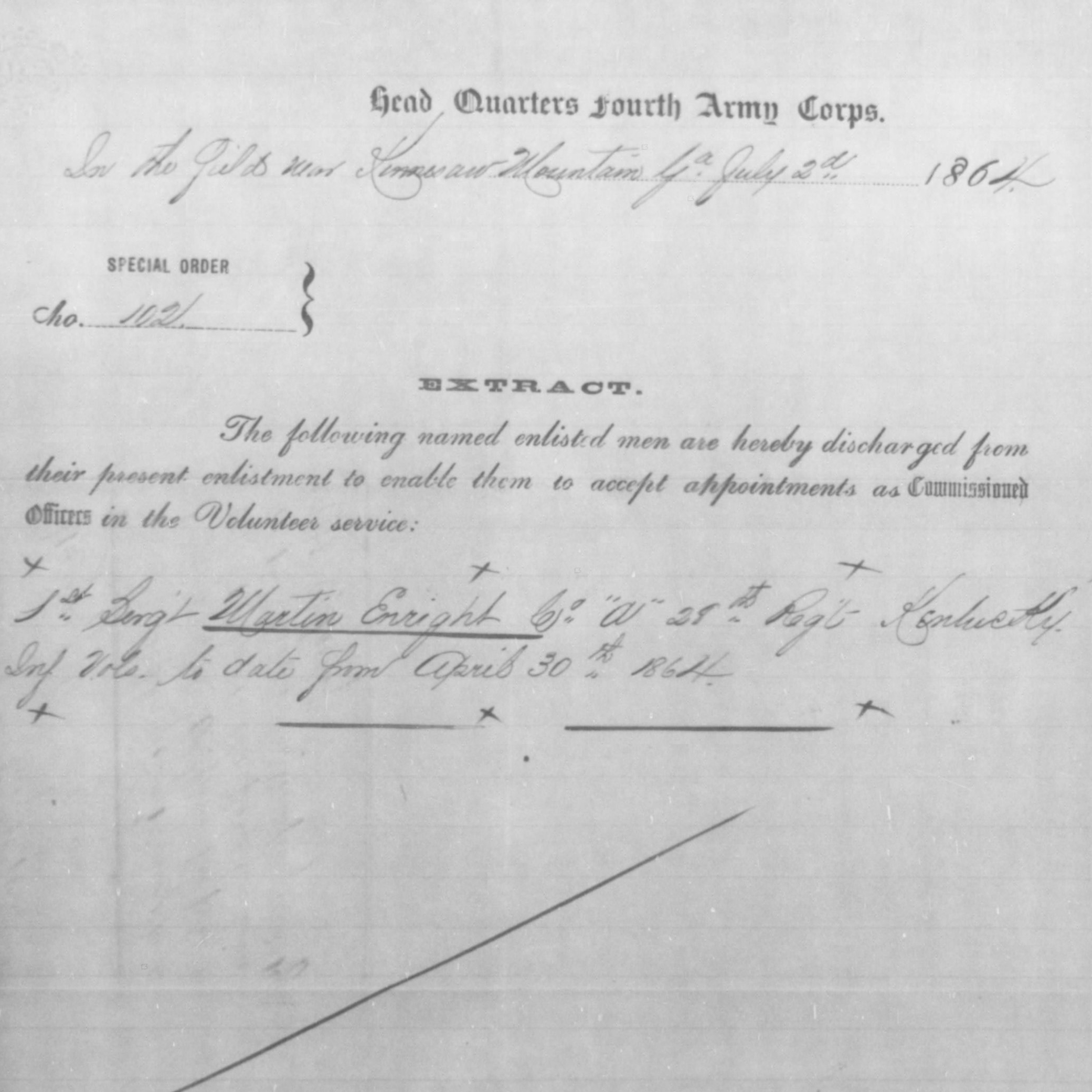 Capt. Martin Enright, Co. A & B, 28th KY Infantry, USA