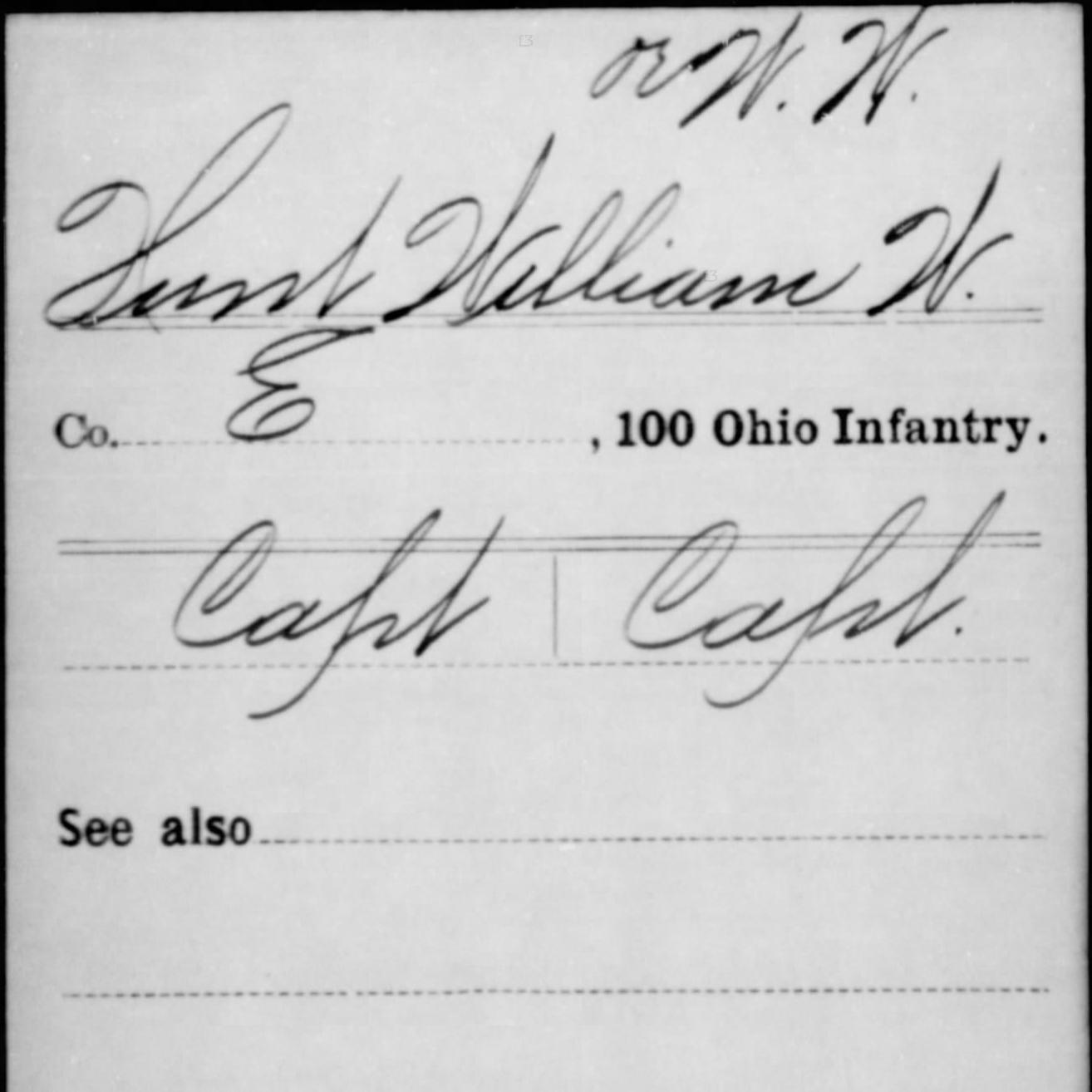 Capt. William Hunt, Co. E, 100th OH Infantry, USA