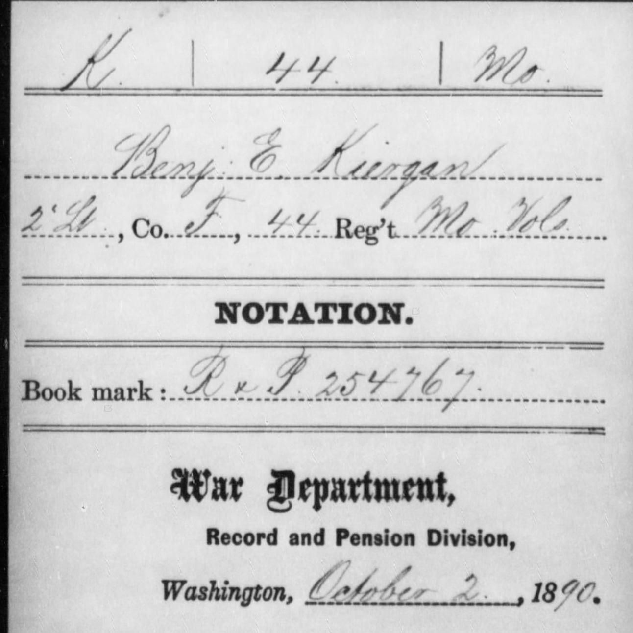 Pvt. Benjamin E. Kirgan, Co. F, 44th MO Infantry, USA