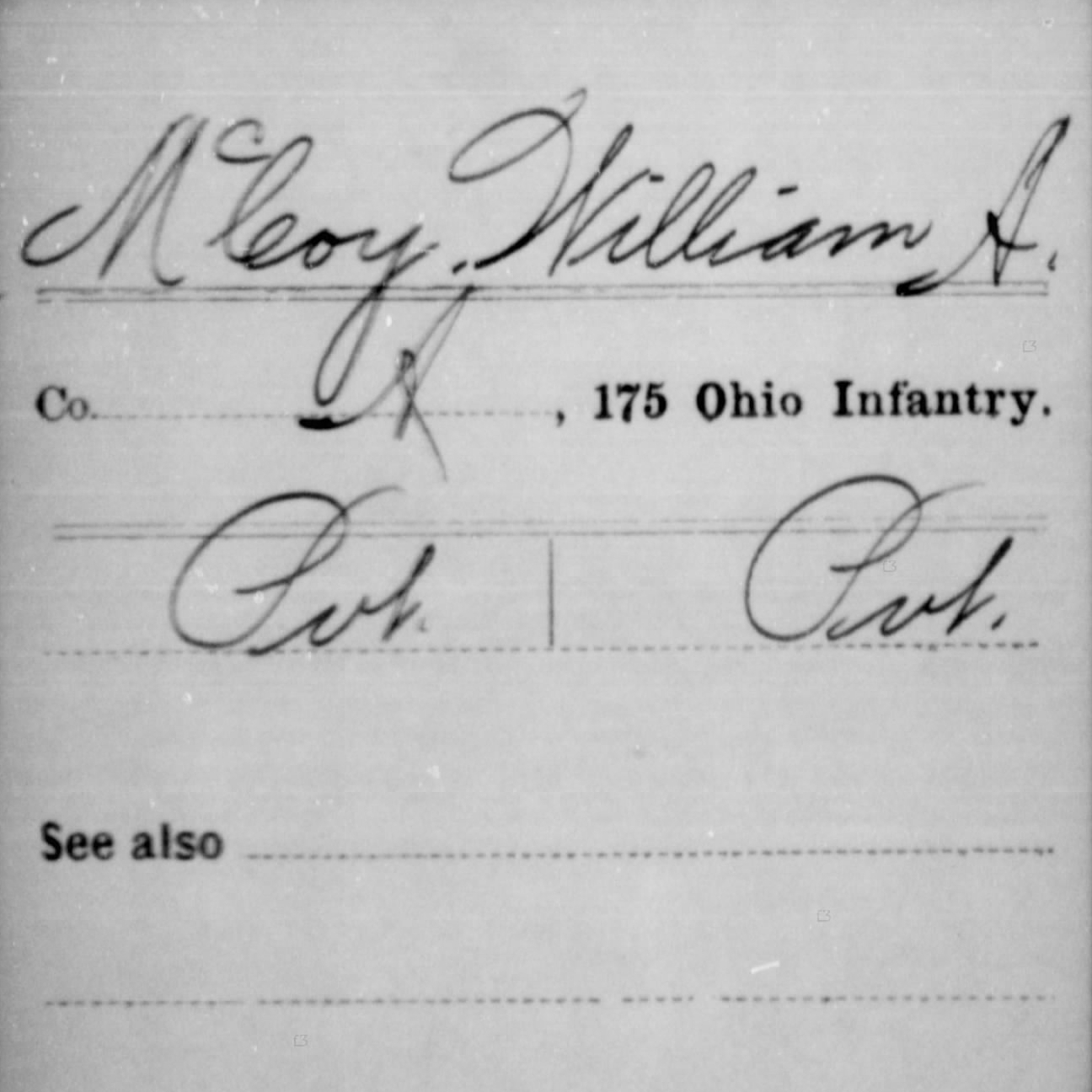 Pvt. William McCoy, Co. A, 175th OH Infantry, USA