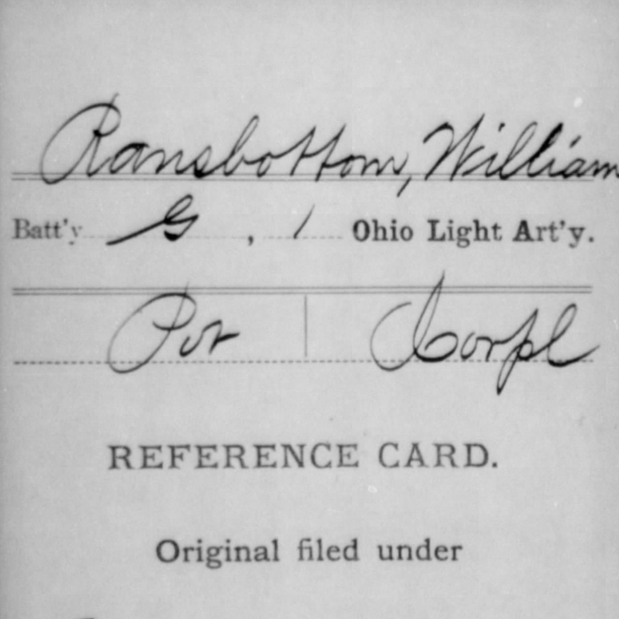 Cpl. William Ransbottom, Co. G, 1st OH Light Artillery, USA