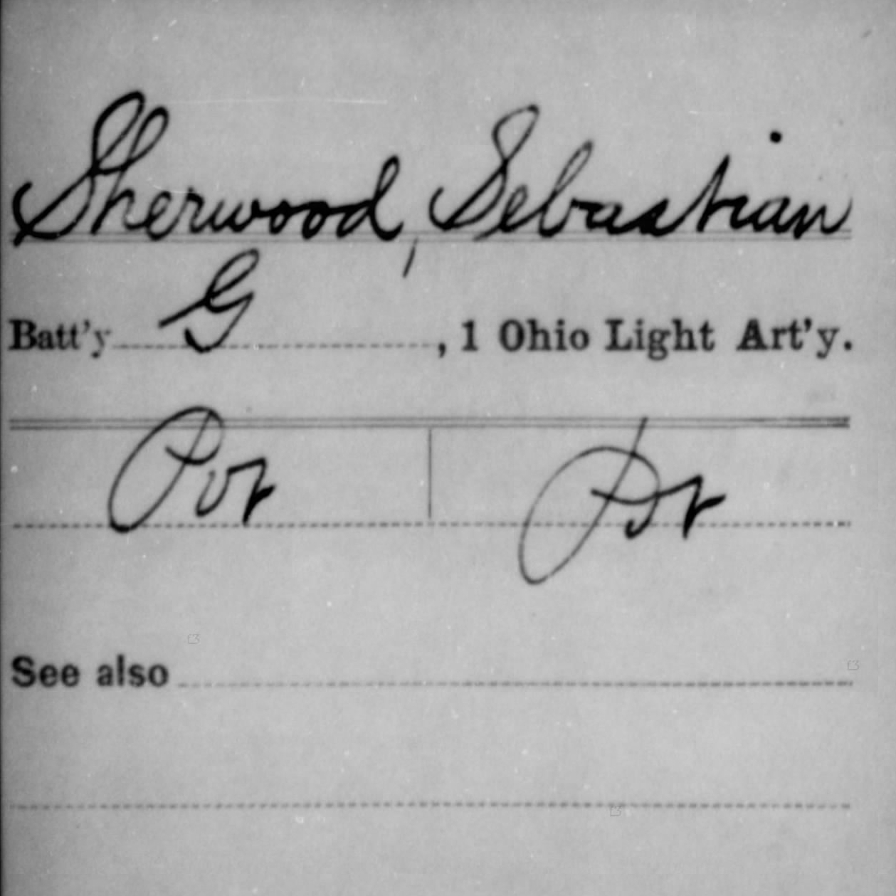 Pvt. Sebastian Sherwood, Battery G, 1st OH Light Artillery, USA