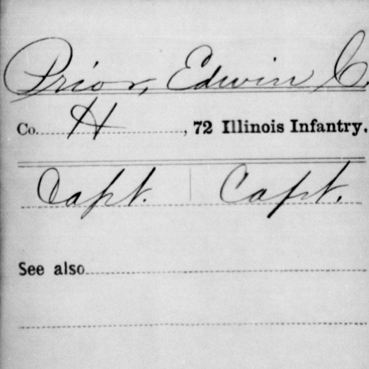 Capt. Edwin Prior, Co. H, 72nd IL Infantry, USA