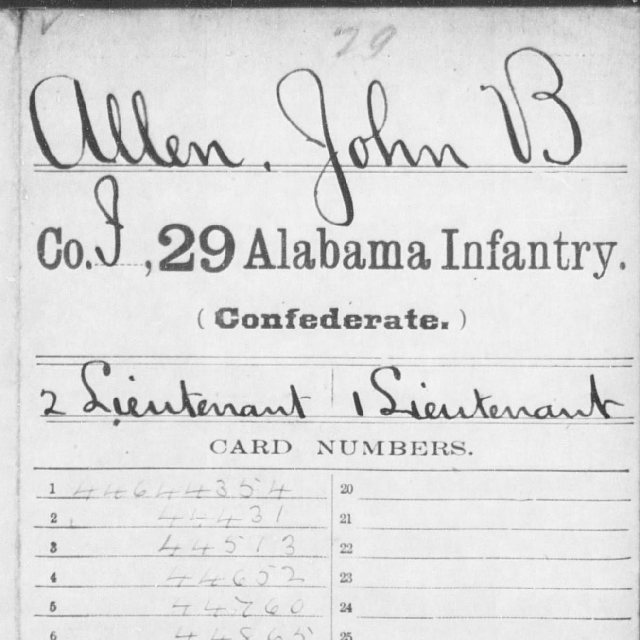 Capt. John Allen, Co. I, 29th AL Infantry, CSA