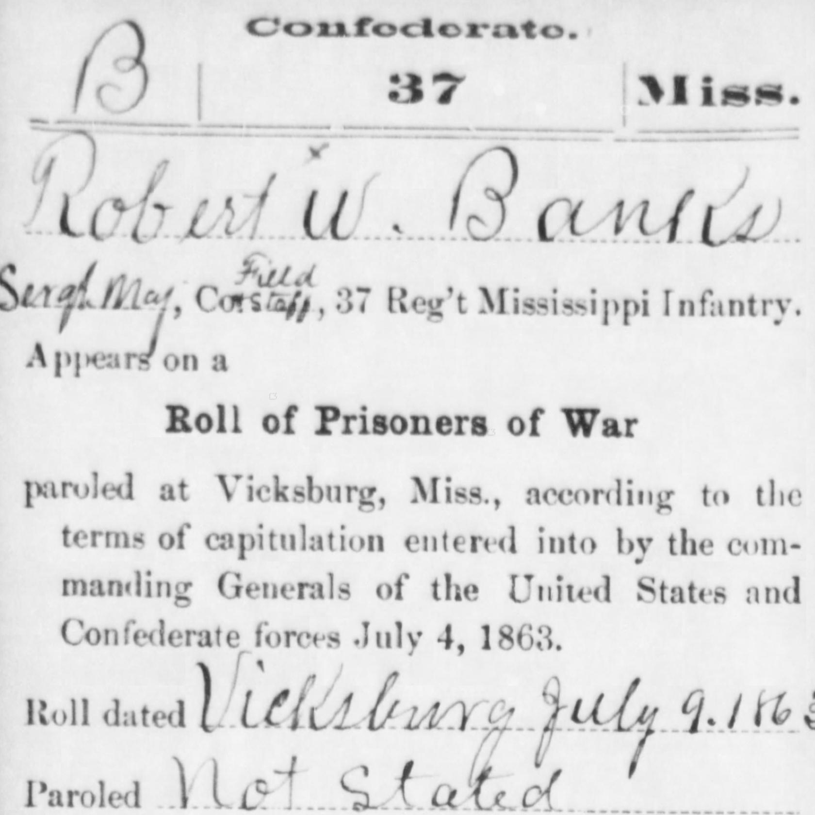 Capt. Robert Banks, Co. D, 37th MS Infantry, CSA