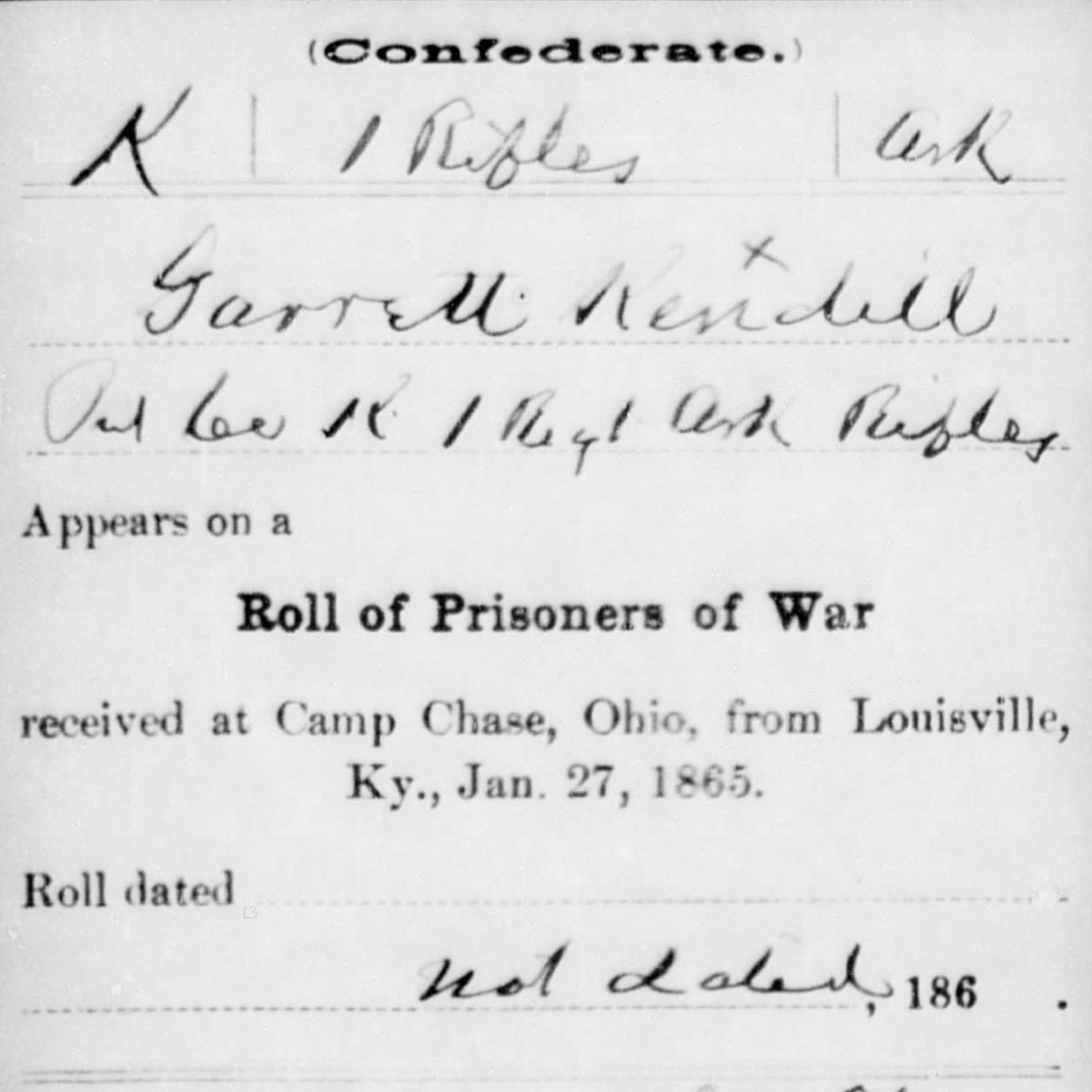 Pvt. Jarrett Kendall, Co. K, 1st AR Mounted Rifles, CSA
