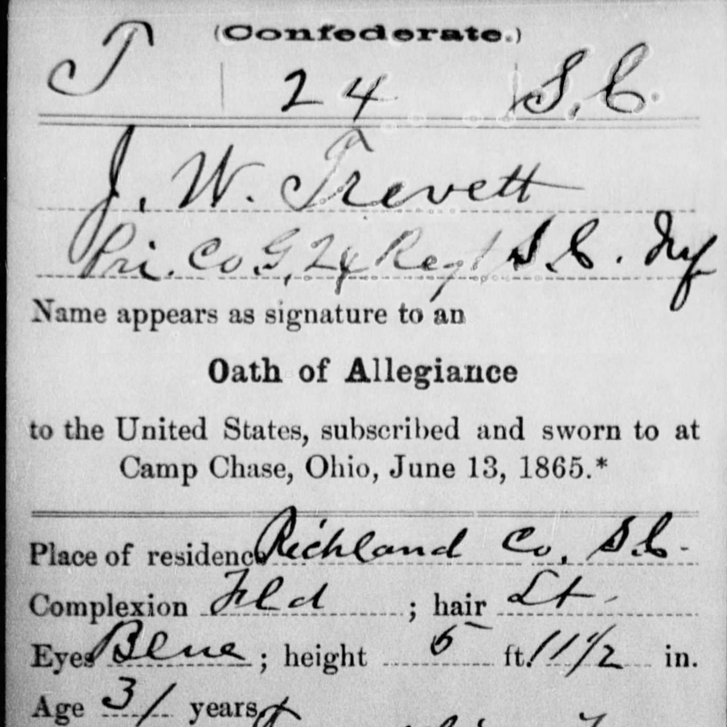 Pvt. Joseph Trevett, Musician, Co. G, 24th SC Infantry, CSA