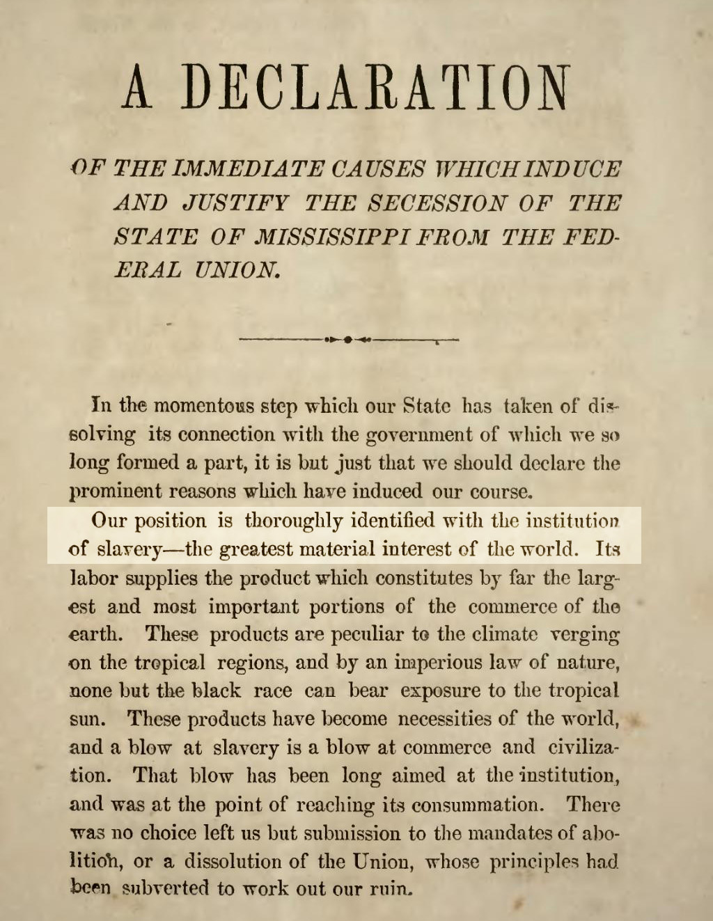 Mississippi Secession Ordinance, January 9, 1861