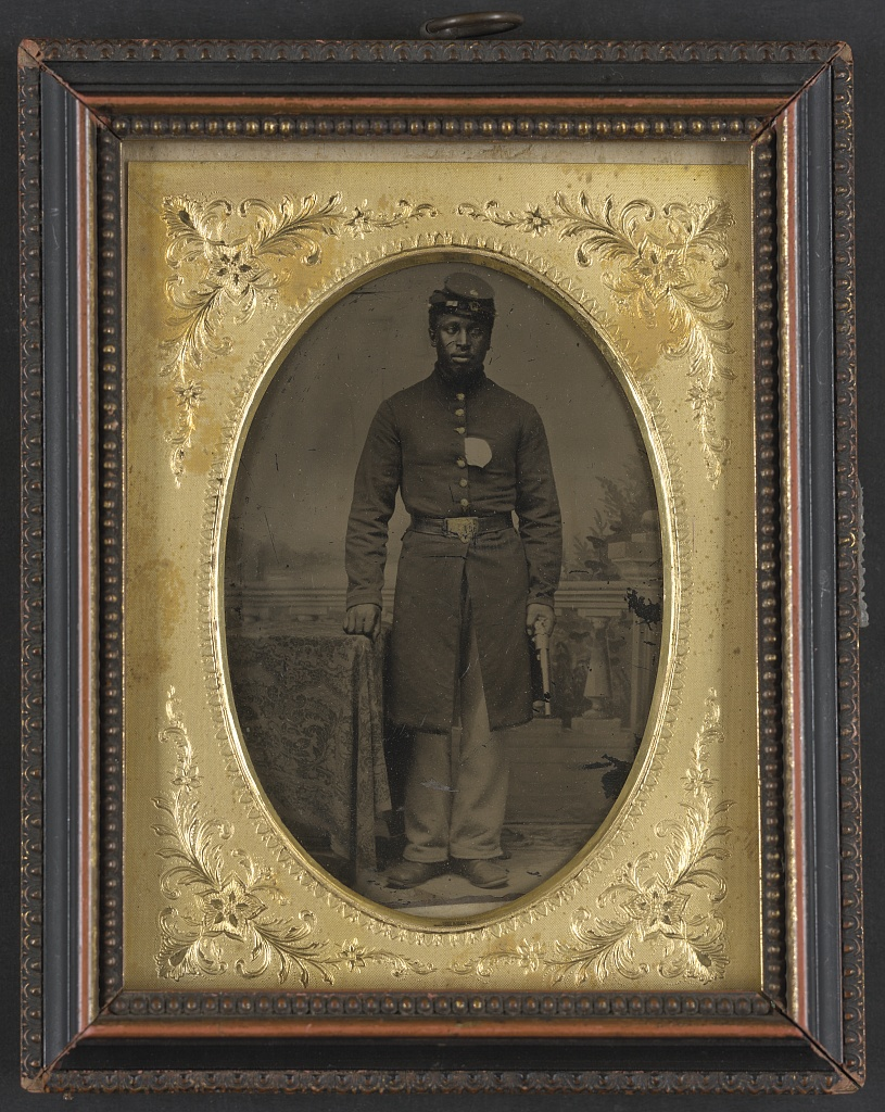 The first United States Colored Troops regiment was formed in 1863. By the end of the Civil War, the U.S.C.T. constituted approximately one-tenth of the Federal Army.  Pictured above is Sergeant Tom Strawn of Company B, 3rd U.S. Colored Troops Heavy Artillery Regiment. Courtesy of the Library of Congress.