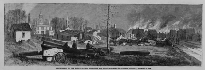 When Sherman's army left Atlanta in November 1864, they destroyed the depots, public buildings, and manufactories. Courtesy of the Library of Congress.