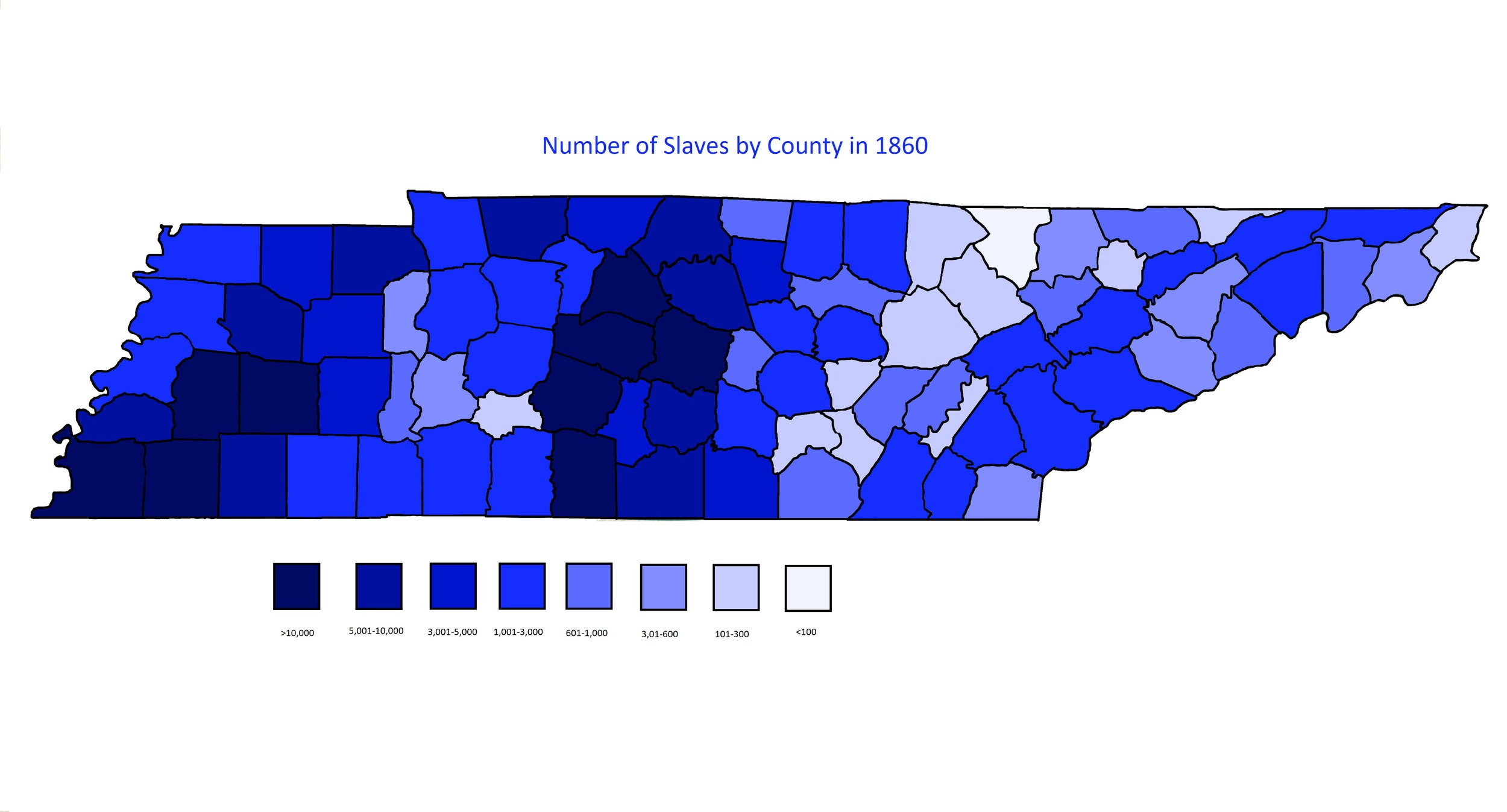 Number of Slaves by County in Tennessee in 1860