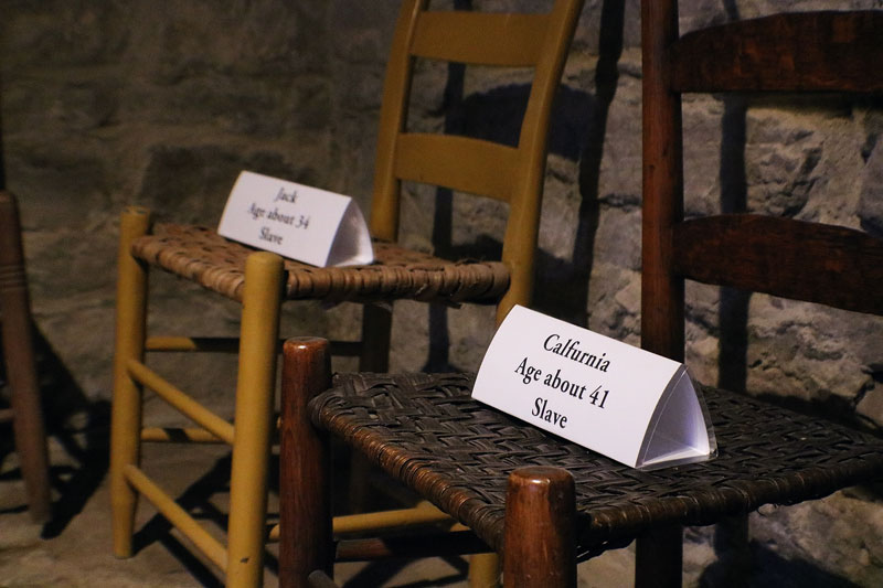Jack and Calfurnia's names were added to the collection of names in the Carter basement in October 2018. These names rest on chairs that represent the men, women, and children who took refuge in the basement during the Battle of Franklin. Thanks to Kristi's research, we are now confident that Jack and Calfurnia were in the basement the night of November 30, 1864.