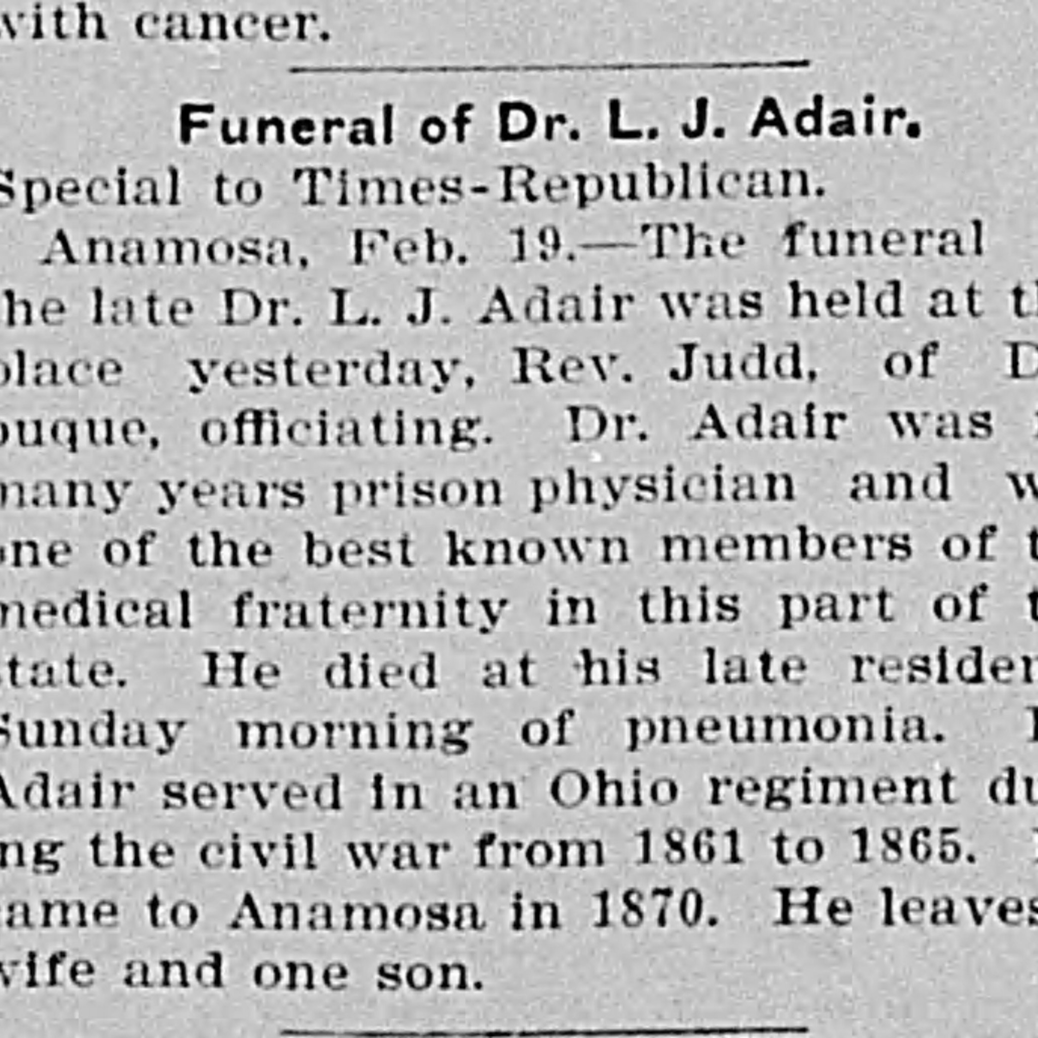 Sgt. Lyman Adair, Co. H, 104th OH Infantry USA