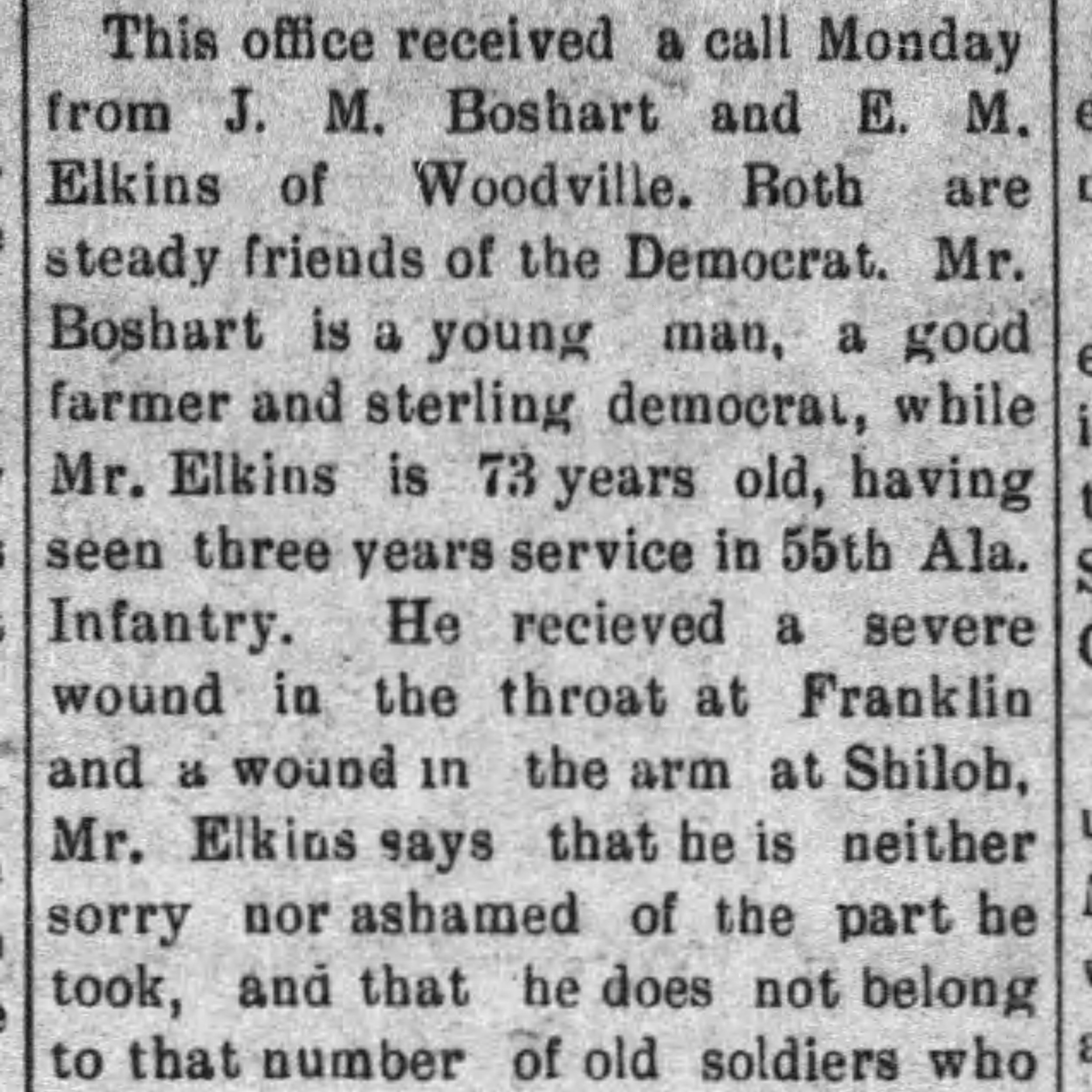 Pvt. Eli Elkins, Co. G, 55 AL Infantry, CSA
