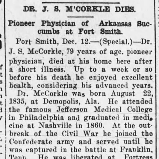 Dr. James McCorkle, Assist. Surgeon, Co. F, 15 MS Infantry, CSA