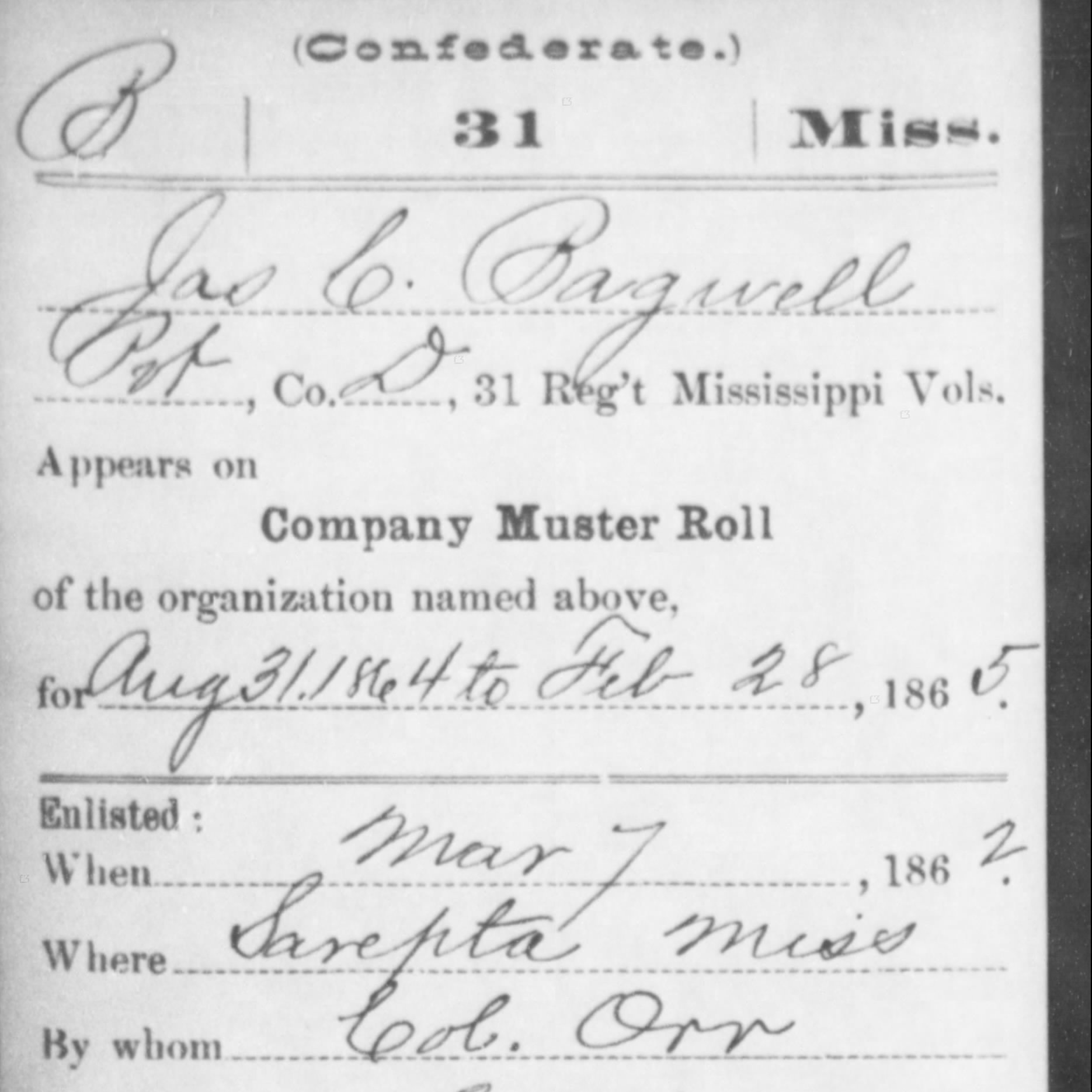 Pvt. John Coffee Bagwell, Co. D, 31st MS Infantry, CSA
