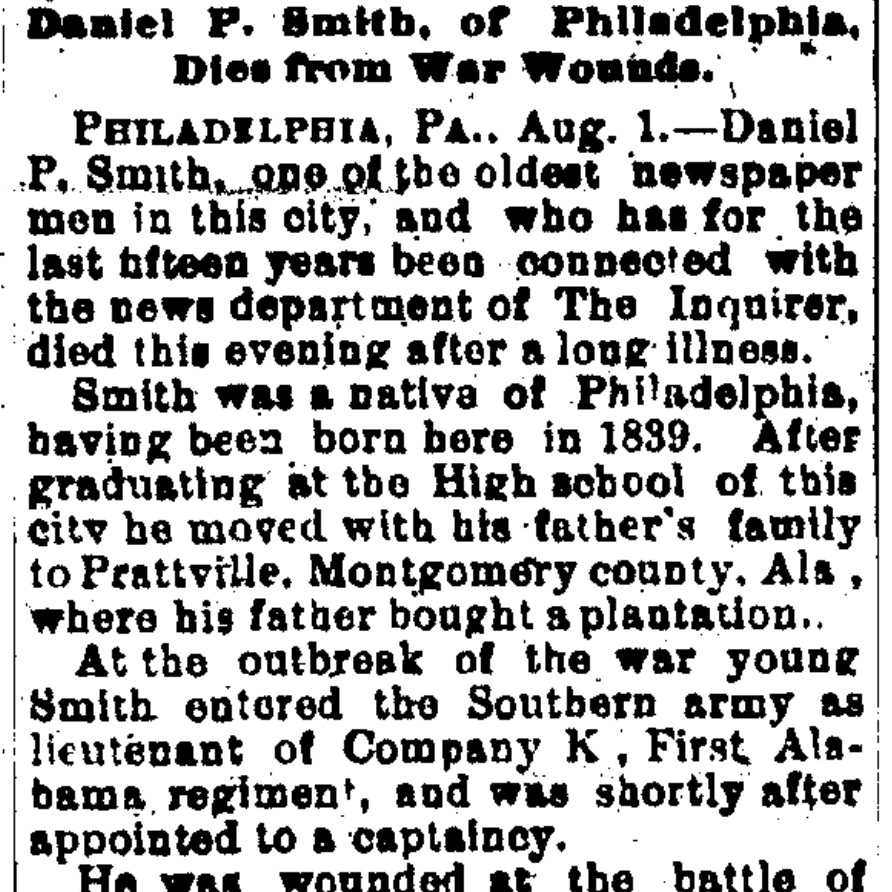 Lt. Daniel Pratt Smith, Co. K, 1 AL Infantry CSA