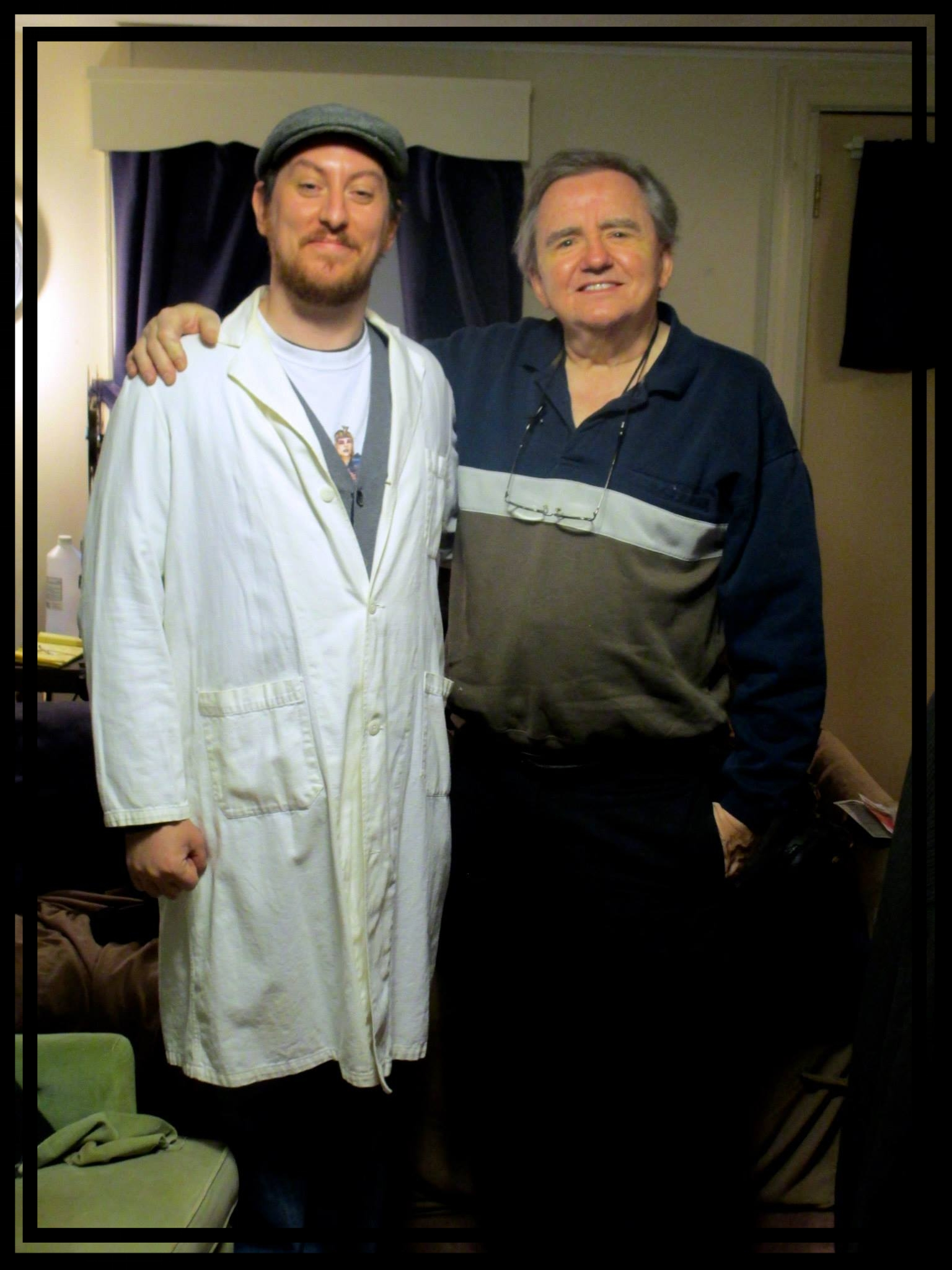 Jon Cross  and  George Stover  in 2014.  Jon  is wearing the white lab coat from   The Alien Factor  !